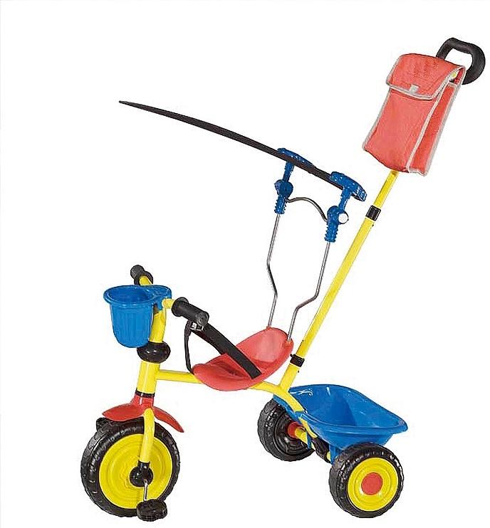 Tricicleta Copii Cu Acoperis Impotriva Soarelui Si Maner De Directie